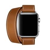 錶帶apple watch錶帶真皮蘋果iwatch1/2/3代雙圈手錶帶38/42mm 交換禮物