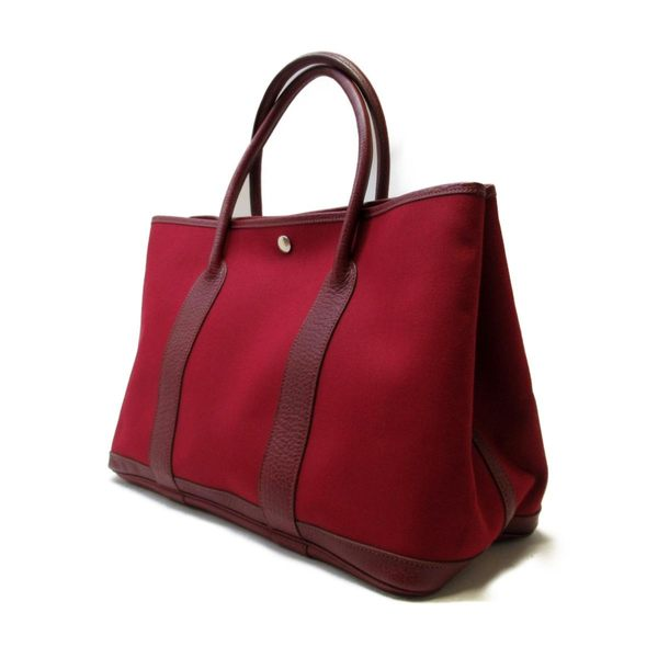HERMES 愛馬仕 Rouge Imperial咖啡紅 Toile Officier GardenParty36 I刻【BRAND OFF】