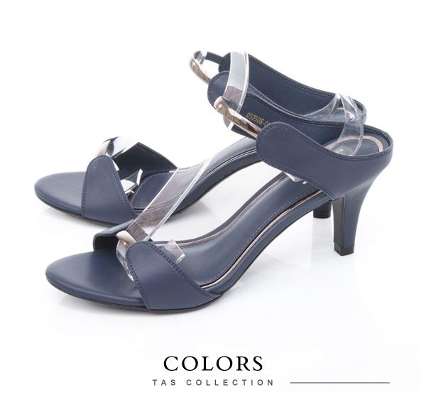 TAS牛皮拼接一字帶金屬高跟涼拖鞋-深海藍