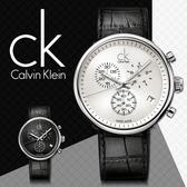 CK手錶專賣店 K2N271C6 大 男錶 中性錶 白面 三眼計時 紳士錶 石英 夜光指針 皮質錶帶