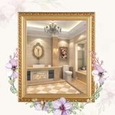 化妝鏡 歐式實木粘貼浴室鏡子化妝梳妝洗手間廁所衛生間貼墻帶框免打孔