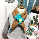 日韓秋冬兒童圍巾卡通小怪獸男女寶寶加棉加厚交叉圍脖小孩脖套潮【雙12鉅惠】