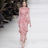 洋裝-五分袖甜美公主風荷葉邊蕾絲修身連身裙73ta41[時尚巴黎]