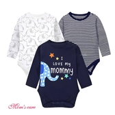 Moms care棉感長袖三角包屁衣 三件組 寶藍大象 包屁衣 連身衣 嬰兒裝