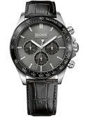 Hugo Boss 旗艦三眼計時皮帶腕錶-黑