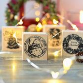 【BlueCat】聖誕節老人花環聖誕樹 木質 印章