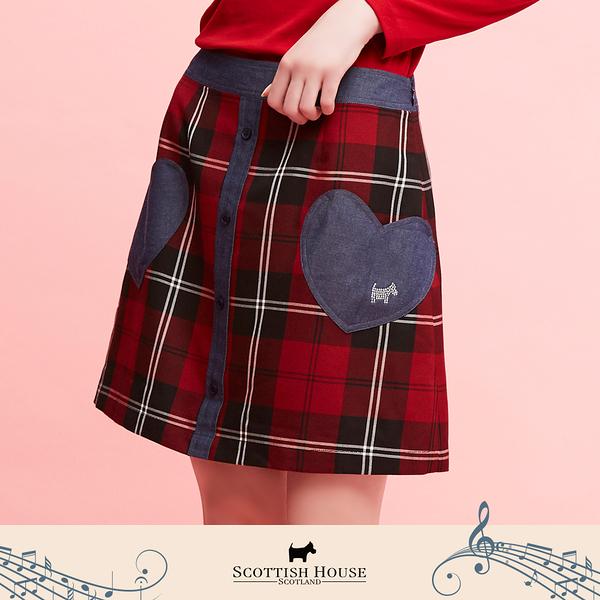 【Scottish House】 紅黑格 格紋 愛心 口袋 短裙 (AN2111)