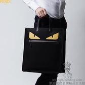 【凱盛國際名牌精品】全新真品FENDI BAG BUGS.全球缺貨超限量.黃黑眼小怪獸【尼龍加皮革大手提包】