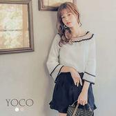 東京著衣【YOCO】韓系輕甜船型領網紗鏤空撞色上衣-S.M.L(180994)