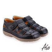 A.S.O 輕量樂活 蠟感牛皮調節式都會休閒涼鞋