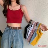 背心 夏季韓版修身顯瘦小吊帶背心女性感外穿小心機港味短款上衣潮 7色 快速出貨