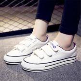 帆布鞋(休閒鞋) 魔術貼帆布鞋懶人鞋女