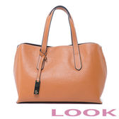 LOOK-真皮貝殼手提包-俏麗女孩Queena系列-氣質駝