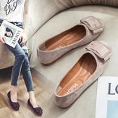 豆豆鞋 平底媽媽單鞋女2020春季新款韓版淺口方扣絨面方頭豆豆鞋奶奶鞋子 薇薇