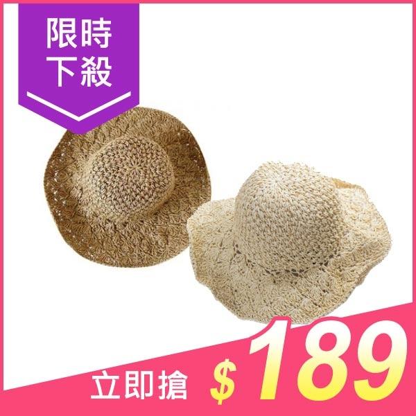 韓國可收折拉菲草編織草帽(1入) 駝色/米色 兩色可選【小三美日】附贈收納袋x1 原價$199