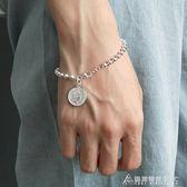 s925純銀手鍊女士潮人日韓簡約雙面硬幣錢幣聖母ins手環韓國飾品 酷斯特數位3c