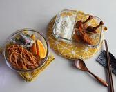3分隔玻璃飯盒微波爐帶隔層保鮮盒2分格便當密封碗     提拉米蘇