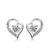 耳環 925純銀鑲鑽銀飾-百搭愛心生日聖誕節交換禮物女飾品73dy177【時尚巴黎】