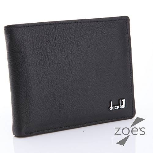 【Zoe s】頂級柔軟小牛皮 鈕扣零錢袋 真皮二折短夾(紳士黑)