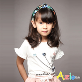 Azio 女童 上衣 三朵小花荷葉造型短袖上衣(白) Azio Kids 美國派 童裝