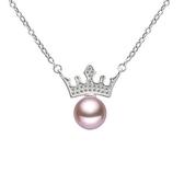 項鍊 925純銀珍珠吊墜-亮眼皇冠生日情人節禮物女飾品2色73dk396【時尚巴黎】