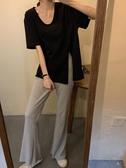 夏季新款赫本風套裝開叉短袖T恤 喇叭長褲輕熟風網紅兩件套御姐女 童趣屋