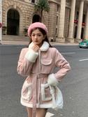 VK精品服飾 韓系羊羔毛拼接棉服呢料長版外套單品長袖上衣