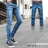 牛仔褲【Y0258】OBI YUAN韓國同步款潑漆鬼洗刷白貼身彈性窄管牛仔褲