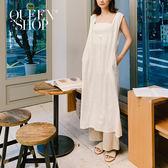 Queen Shop【01084531】排釦棉麻連身裙 兩色售*現+預*