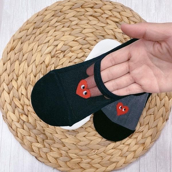 透膚涼感 船型襪 系膠防滑隱形襪 愛心襪子 日系潮流 愛心眼睛 韓國襪子 透明襪子