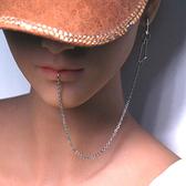 不銹鋼耳鏈唇鏈鼻鏈耳環唇環唇釘鼻環鼻釘穿刺飾品男女情侶飾品 瑪麗蘇