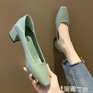中跟鞋 法式小高跟鞋女新款法式粗跟單鞋女中跟百搭網紅復古奶奶鞋工作鞋 智慧e家 新品