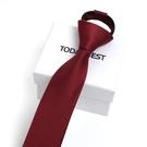 男士5cm韓版窄版易拉得懶人拉鏈領帶男正裝商務休閒酒紅黑色潮 降價兩天