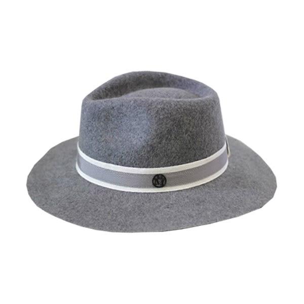 OT SHOP帽子‧雙M灰白撞色緞帶純羊毛呢氈‧毛呢帽紳士帽禮帽‧韓版氣質中性英倫風格‧現貨‧C1709