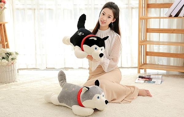 【55公分】哈士奇娃娃 午睡枕 創意仿真抱枕 小狗玩偶 生日禮物 聖誕節交換禮物