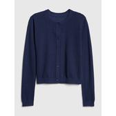 Gap女童 休閒挑窿開襟長袖針織衫 473394-海軍藍色