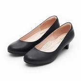 MICHELLE PARK 知性典範  圓頭素色拼接亮面低跟鞋-黑
