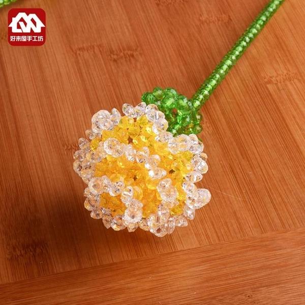 10朵 diy手工串珠玫瑰花材料包編織擺件散珠子工藝品飾品製作仿水晶珠 英雄聯盟