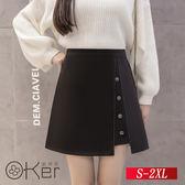 中大尺碼 早秋新款排扣半身裙 S-2XL O-Ker歐珂兒 15136-C