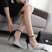 618好康鉅惠 一字扣高跟鞋細跟尖頭小清新5cm中跟少女鞋