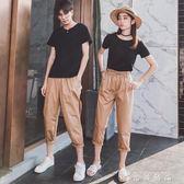 氣質情侶裝夏裝新款ins超火套裝夏季同色系短袖T恤潮 时尚潮流