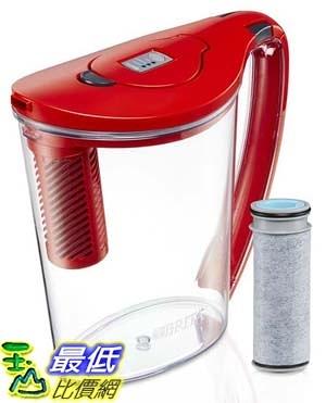 [106美國直購] Brita 10 Cup Stream Filter as You Pour Water Pitcher with 1 Filter, Hydro, BPA Free, Chili Red