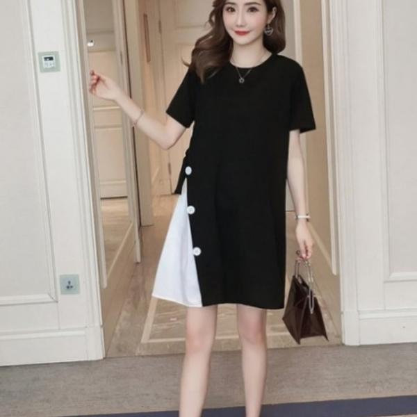 漂亮小媽咪 韓國短袖洋裝 【D0211】 短袖 鈕扣 假兩件 拼接 孕婦裝 長版衣 孕婦洋裝