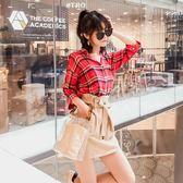 夏季套裝女2018新款港味洋氣格子襯衫 高腰花苞半身裙時尚兩件套