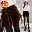 【YOUNGBABY】鬆緊高腰金絲絨褲裙.黑/棕(28-50)
