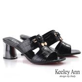 Keeley Ann我的日常生活 鱷魚紋半透視中跟拖鞋(黑色) -Ann系列