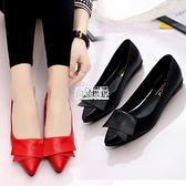 平底淺口小皮鞋女尖頭單鞋百搭粗跟女鞋子