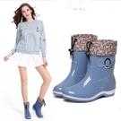 中筒雨鞋 中筒雨鞋女士時尚水鞋防滑防水下雨鞋韓版套腳鞋加絨膠鞋新款 維多原創