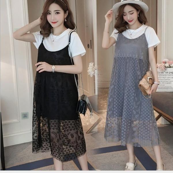 漂亮小媽咪 孕婦洋裝 【D6096】 質感 柔軟 蕾絲 兩件式 吊帶裙 孕婦裝 背心裙 長裙
