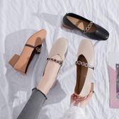 豆豆鞋鞋子女春秋新款百搭韓版學生豆豆鞋網紅中跟單鞋女粗跟奶奶鞋 可然精品